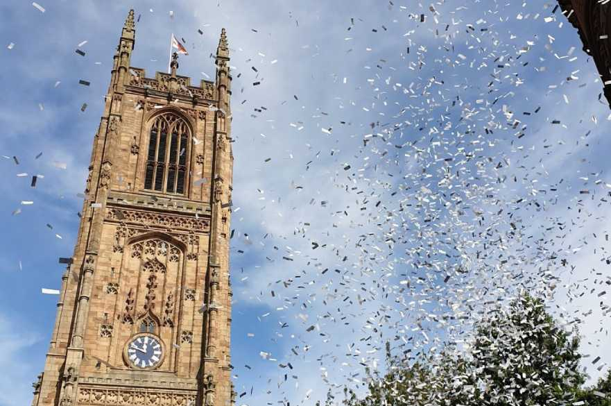 Derby Cathedral with confetti