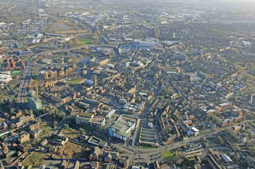 Aerial view of Derby