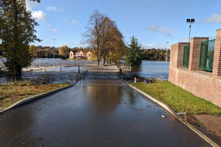 Flood water at Derby Rugby Club