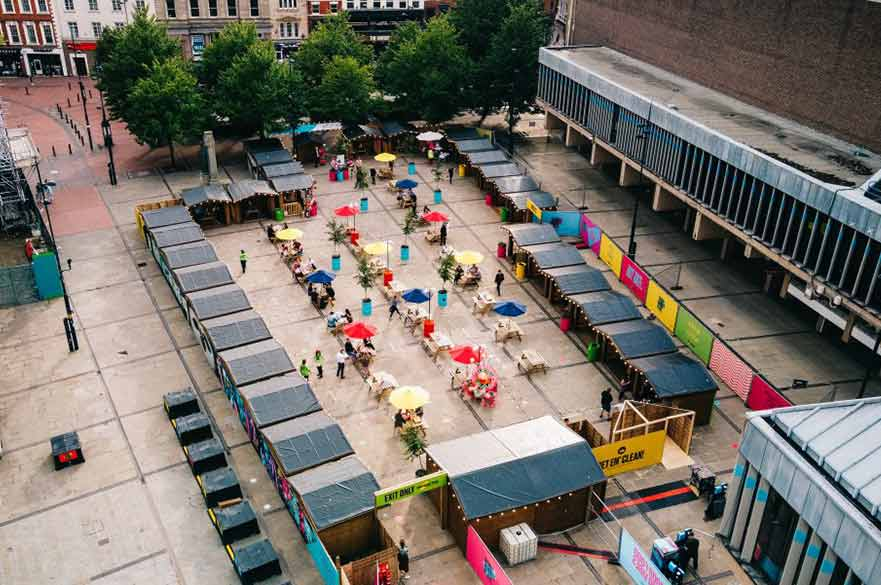 Aerial view of Derby Marketplace outdoor dining
