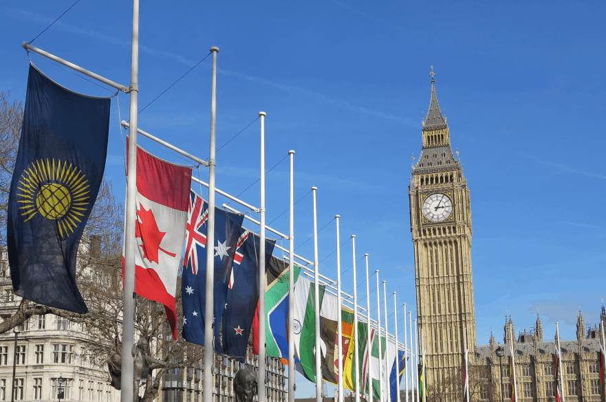 commonwealth day flags outside Big Ben