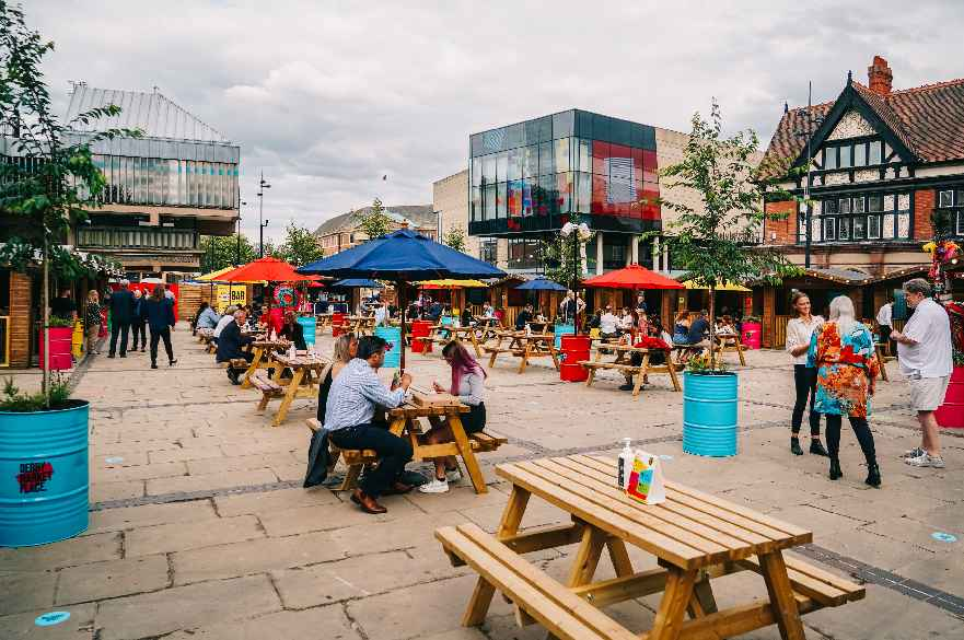 Derby Market Place outdoor dining destination