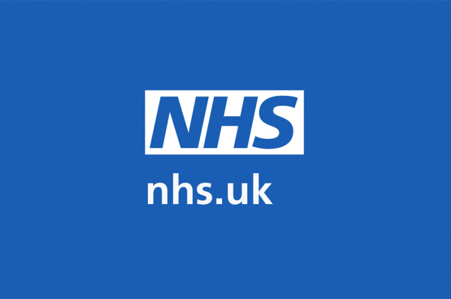 NHS logo and web address