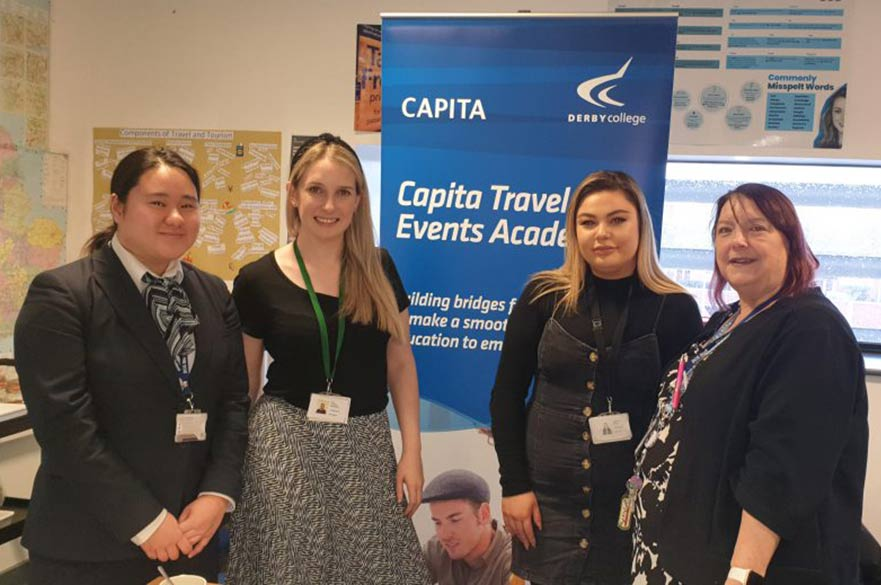 Derby College students at travel event