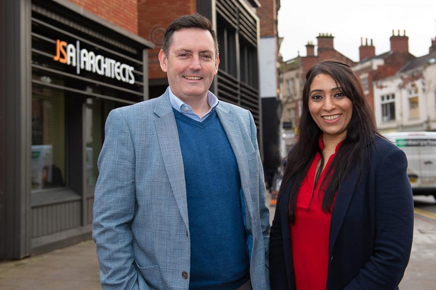 JSA Architects founder, Justin Smith and Ann Bhatti, head of Connect Derby.