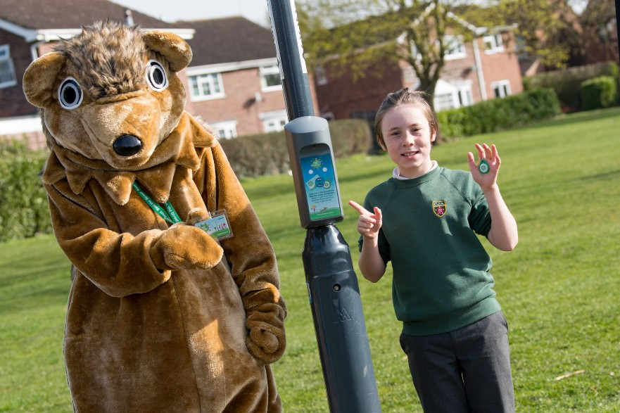 Dexter Brooks from Chellaston Junior School pictured with Beat the Street's mascot Beattie