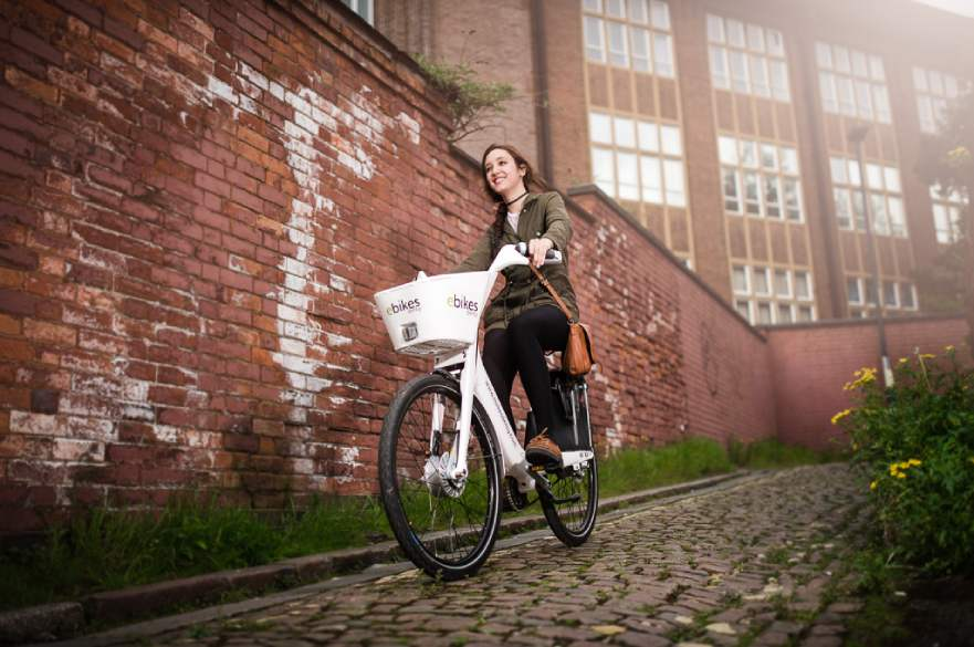 Woman riding ebike