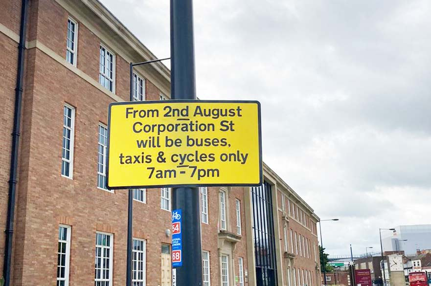 Corporation Street notice sign