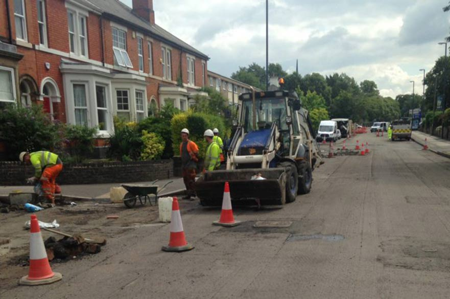Road resurfacing Kedleston Road