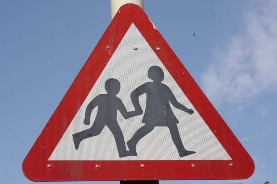 School children road sign