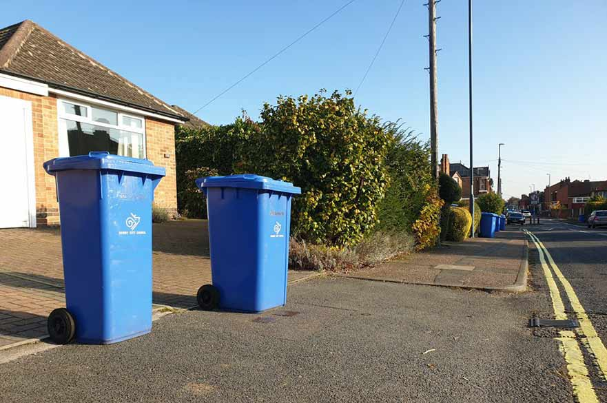 Blue bins on street