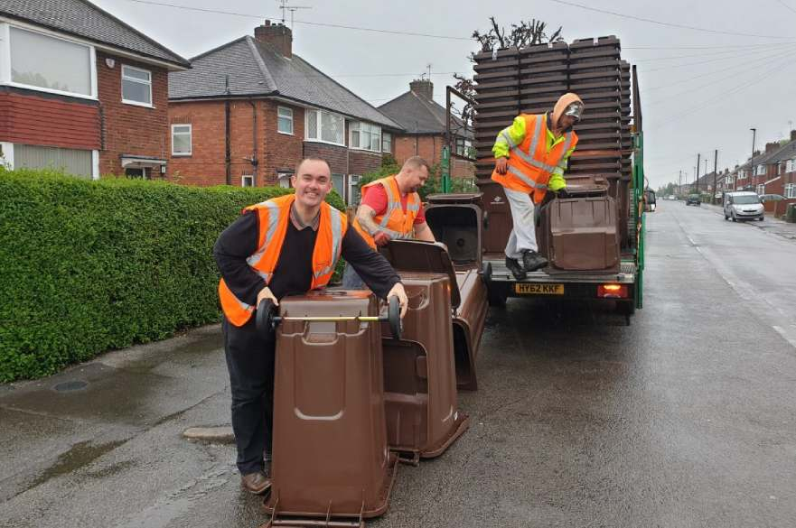 Brown bins being delivered