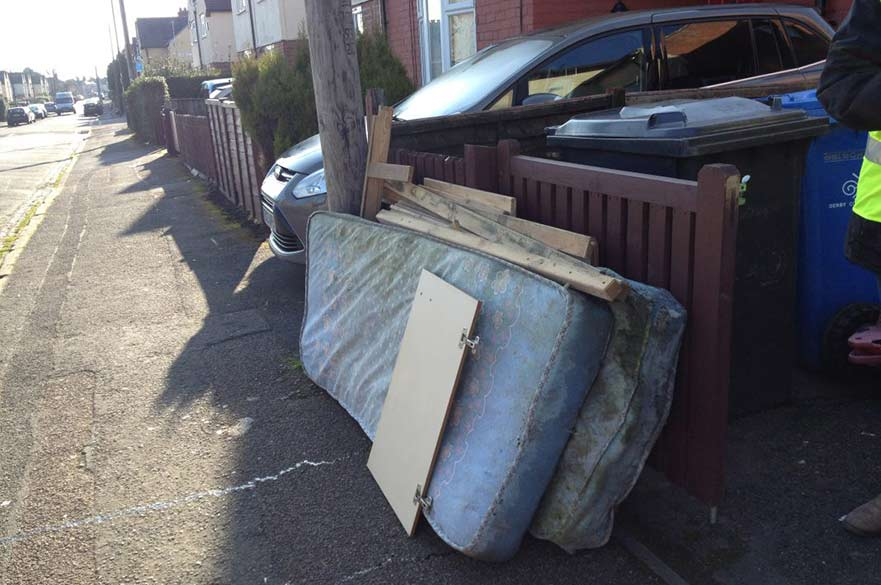 Bulky waste outside a house