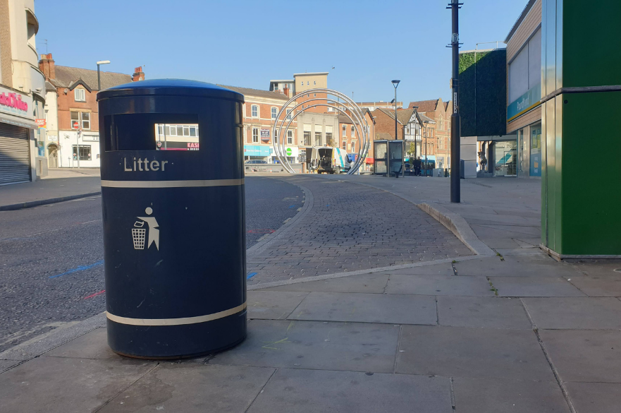 Litter bin on street